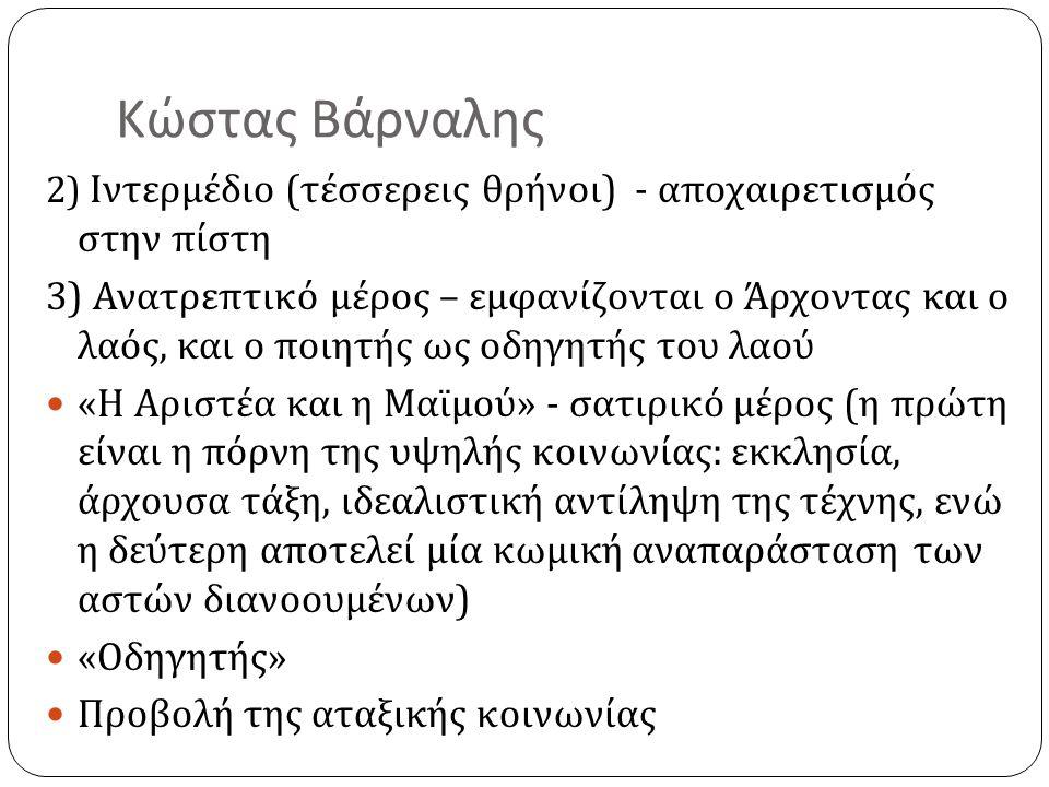 Κώστας Βάρναλης Αρνητική υποδοχή του έργου από την ελληνική κοινωνία « Από τα βαρνάλια στα καρναβάλια » « Το κτήνος αυτό είναι βουλγαρικόν και κουφόν » Θετική στάση του Παλαμά και του Καβάφη Ο Σολωμός χωρίς μεταφυσική – 1925 ( ανταπάντηση στο βιβλίο του Γιάννη Αποστολάκη, Η ποίηση στη ζωή μας, για τον Σολωμό ) Σκλάβοι πολιορκημένοι – 1927 Η αληθινή απολογία του Σωκράτη – 1931