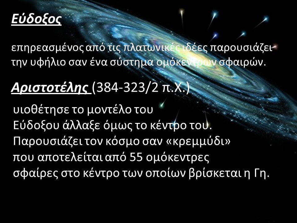 επηρεασμένος από τις πλατωνικές ιδέες παρουσιάζει την υφήλιο σαν ένα σύστημα ομόκεντρων σφαιρών. Εύδοξος Αριστοτέλης (384-323/2 π.Χ.) υιοθέτησε το μον
