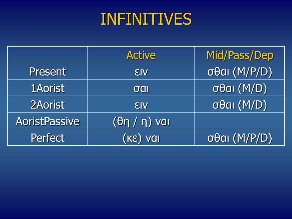 INFINITIVES ActiveMid/Pass/Dep Presentειν σθαι (M/P/D) 1Aoristσαι σθαι (M/D) 2Aoristειν AoristPassive (θη / η) ναι Perfect (κε) ναι σθαι (M/P/D)