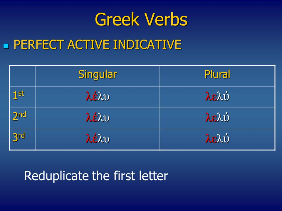 Greek Verbs PERFECT ACTIVE INDICATIVE PERFECT ACTIVE INDICATIVE SingularPlural 1 st λ έ λυκα λελ ύ κα 2 nd λ έ λυκα λελ ύ κα 3 rd λ έ λυκα λελ ύ κα Add the κα tense code