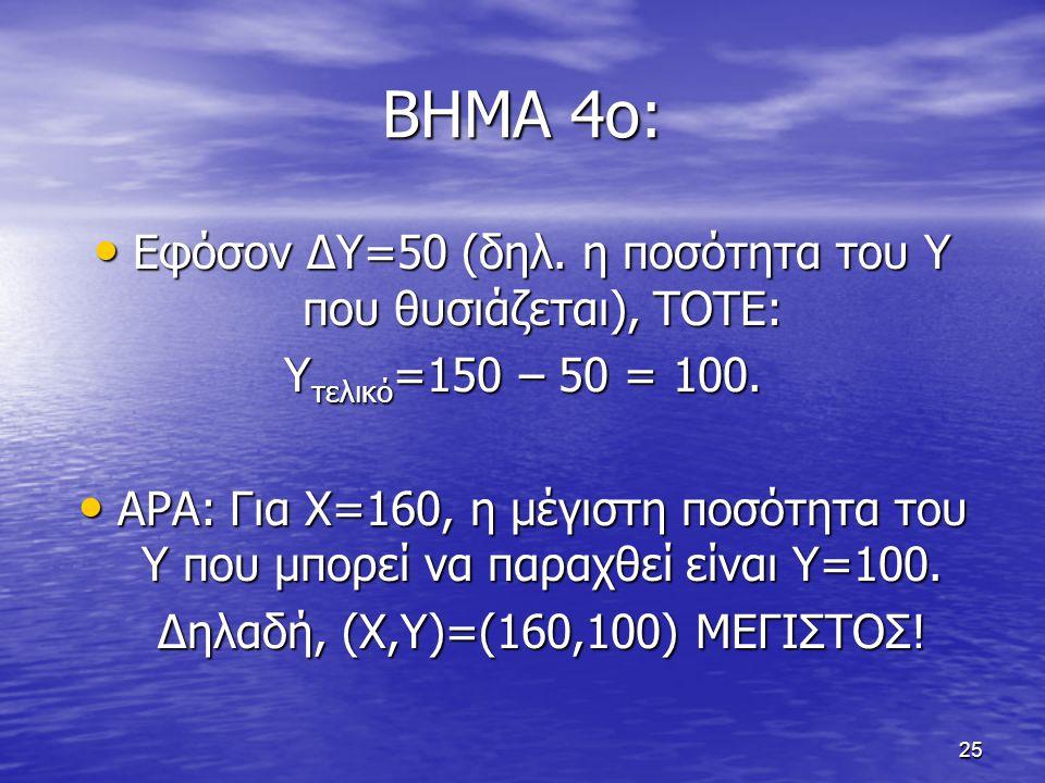 25 ΒΗΜΑ 4ο: Εφόσον ΔΥ=50 (δηλ. η ποσότητα του Υ που θυσιάζεται), ΤΟΤΕ: Εφόσον ΔΥ=50 (δηλ. η ποσότητα του Υ που θυσιάζεται), ΤΟΤΕ: Υ τελικό =150 – 50 =