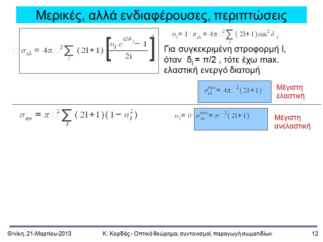 Θ/νίκη, 21-Μαρτίου-2013Κ. Κορδάς - Οπτικό θεώρημα, συντονισμοί, παραγωγή σωματιδίων12 Μερικές, αλλά ενδιαφέρουσες, περιπτώσεις Για συγκεκριμένη στροφο