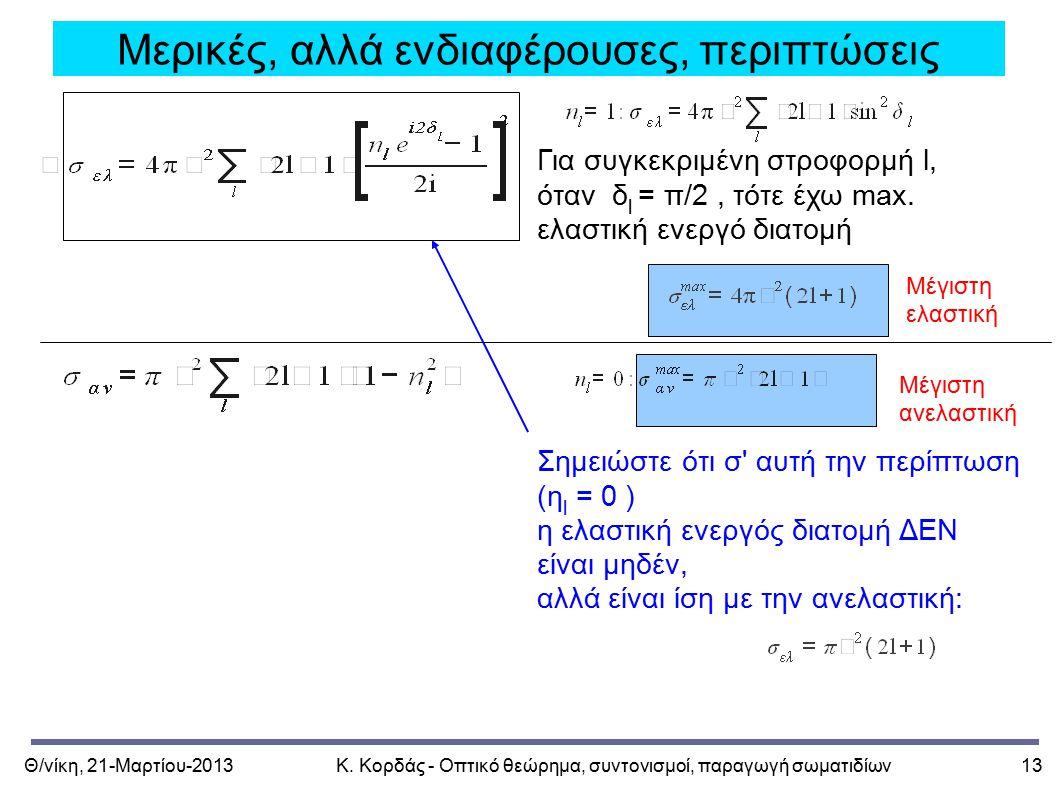 Θ/νίκη, 21-Μαρτίου-2013Κ. Κορδάς - Οπτικό θεώρημα, συντονισμοί, παραγωγή σωματιδίων13 Μερικές, αλλά ενδιαφέρουσες, περιπτώσεις Για συγκεκριμένη στροφο