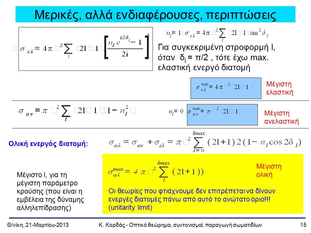 Θ/νίκη, 21-Μαρτίου-2013Κ. Κορδάς - Οπτικό θεώρημα, συντονισμοί, παραγωγή σωματιδίων15 Μερικές, αλλά ενδιαφέρουσες, περιπτώσεις Για συγκεκριμένη στροφο