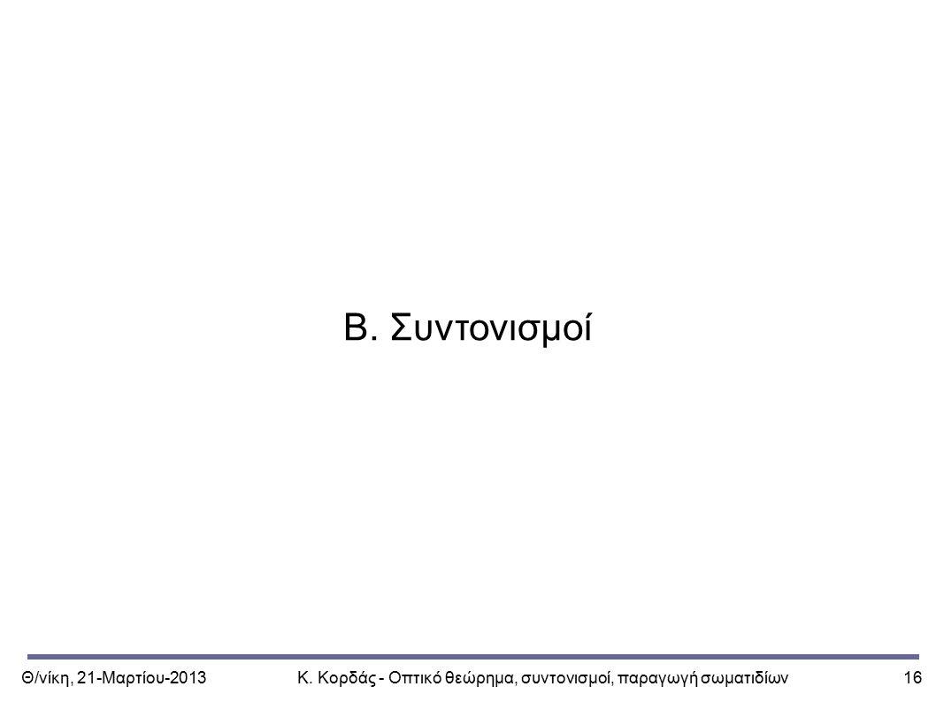 Θ/νίκη, 21-Μαρτίου-2013Κ. Κορδάς - Οπτικό θεώρημα, συντονισμοί, παραγωγή σωματιδίων16 Β. Συντονισμοί