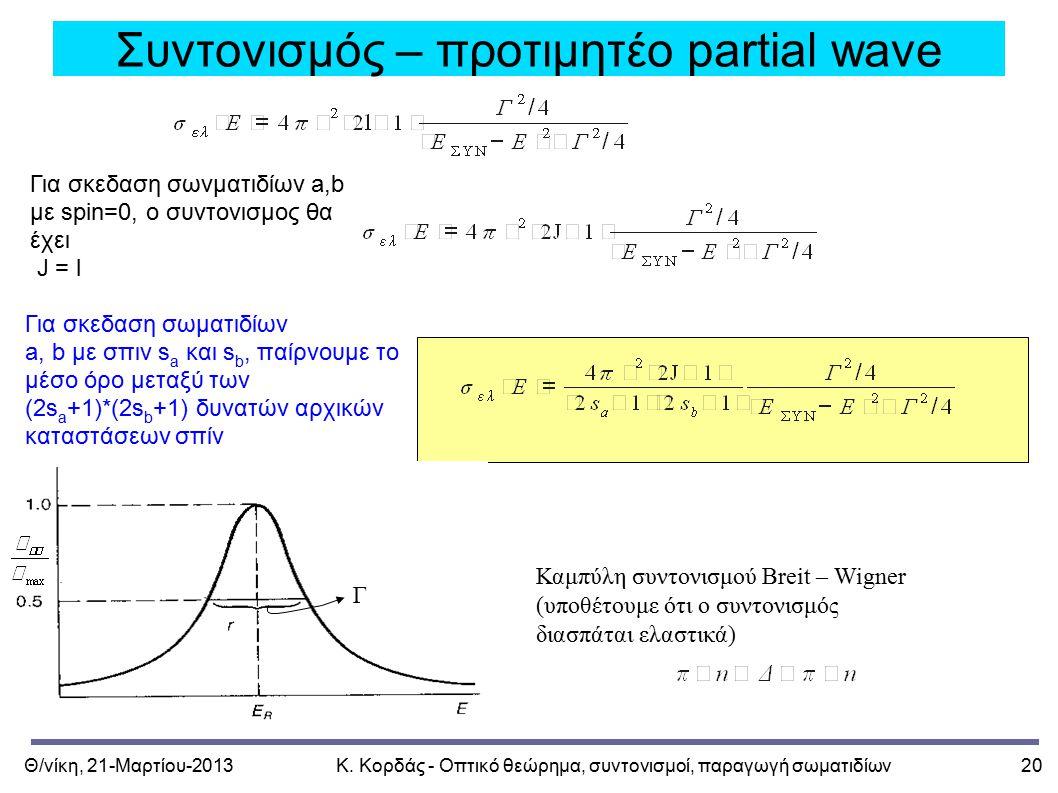 Θ/νίκη, 21-Μαρτίου-2013Κ. Κορδάς - Οπτικό θεώρημα, συντονισμοί, παραγωγή σωματιδίων20 Συντονισμός – προτιμητέο partial wave Για σκεδαση σωνματιδίων a,