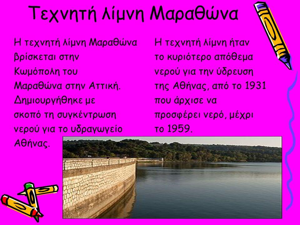 Τεχνητή λίμνη Μαραθώνα Η τεχνητή λίμνη Μαραθώνα βρίσκεται στην Κωμόπολη του Μαραθώνα στην Αττική.