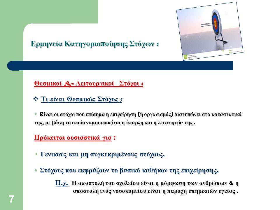 8 Ερμηνεία Κατηγοριο π οίησης Στόχων : Θεσμικοί & Λειτουργικοί Στόχοι : Τι είναι Λειτουργικός Στόχος ;  Τι είναι Λειτουργικός Στόχος ; E ίναι οι στόχοι της ε π ιχείρησης π ου εκφράζουν συγκεκριμένα α π οτελέσματα τα ο π οία ε π ιδιώκει να ε π ιτύχει.