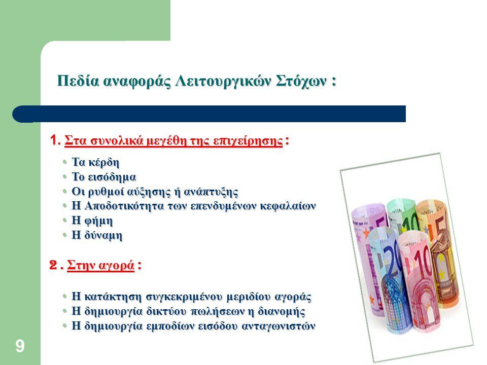 10 Πεδία αναφοράς Λειτουργικών Στόχων : 3.