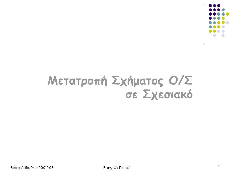 Βάσεις Δεδομένων 2007-2008Ευαγγελία Πιτουρά 1 Μετατροπή Σχήματος Ο/Σ σε Σχεσιακό