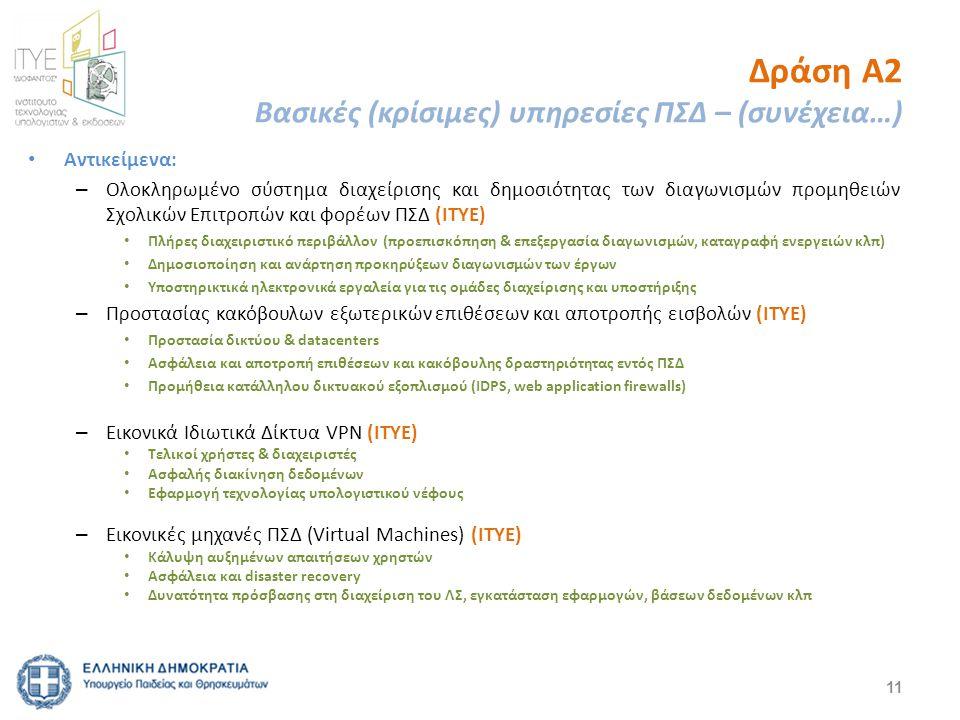Δράση Α2 Βασικές (κρίσιμες) υπηρεσίες ΠΣΔ – (συνέχεια…) Αντικείμενα: – Ολοκληρωμένο σύστημα διαχείρισης και δημοσιότητας των διαγωνισμών προμηθειών Σχολικών Επιτροπών και φορέων ΠΣΔ (ΙΤΥΕ) Πλήρες διαχειριστικό περιβάλλον (προεπισκόπηση & επεξεργασία διαγωνισμών, καταγραφή ενεργειών κλπ) Δημοσιοποίηση και ανάρτηση προκηρύξεων διαγωνισμών των έργων Υποστηρικτικά ηλεκτρονικά εργαλεία για τις ομάδες διαχείρισης και υποστήριξης – Προστασίας κακόβουλων εξωτερικών επιθέσεων και αποτροπής εισβολών (ΙΤΥΕ) Προστασία δικτύου & datacenters Ασφάλεια και αποτροπή επιθέσεων και κακόβουλης δραστηριότητας εντός ΠΣΔ Προμήθεια κατάλληλου δικτυακού εξοπλισμού (IDPS, web application firewalls) – Εικονικά Ιδιωτικά Δίκτυα VPN (ΙΤΥΕ) Τελικοί χρήστες & διαχειριστές Ασφαλής διακίνηση δεδομένων Εφαρμογή τεχνολογίας υπολογιστικού νέφους – Εικονικές μηχανές ΠΣΔ (Virtual Machines) (ΙΤΥΕ) Κάλυψη αυξημένων απαιτήσεων χρηστών Ασφάλεια και disaster recovery Δυνατότητα πρόσβασης στη διαχείριση του ΛΣ, εγκατάσταση εφαρμογών, βάσεων δεδομένων κλπ 11