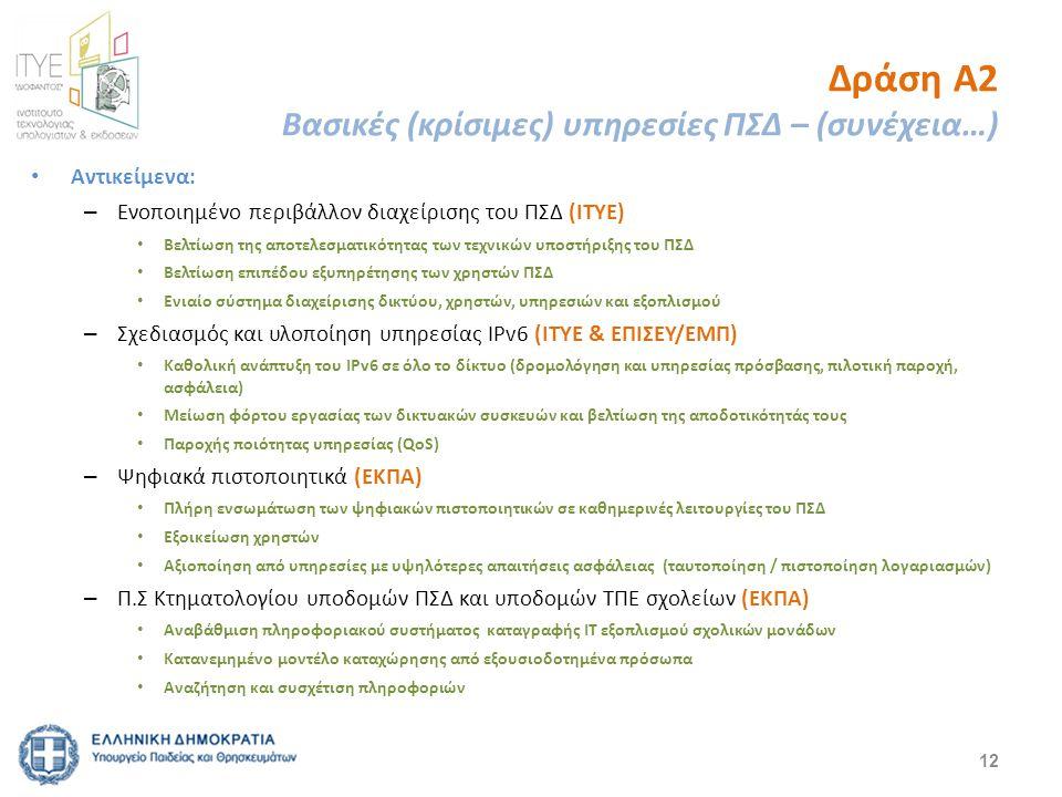 Δράση Α2 Βασικές (κρίσιμες) υπηρεσίες ΠΣΔ – (συνέχεια…) Αντικείμενα: – Ενοποιημένο περιβάλλον διαχείρισης του ΠΣΔ (ΙΤΥΕ) Βελτίωση της αποτελεσματικότητας των τεχνικών υποστήριξης του ΠΣΔ Βελτίωση επιπέδου εξυπηρέτησης των χρηστών ΠΣΔ Ενιαίο σύστημα διαχείρισης δικτύου, χρηστών, υπηρεσιών και εξοπλισμού – Σχεδιασμός και υλοποίηση υπηρεσίας IPv6 (ΙΤΥΕ & ΕΠΙΣΕΥ/ΕΜΠ) Καθολική ανάπτυξη του IPv6 σε όλο το δίκτυο (δρομολόγηση και υπηρεσίας πρόσβασης, πιλοτική παροχή, ασφάλεια) Μείωση φόρτου εργασίας των δικτυακών συσκευών και βελτίωση της αποδοτικότητάς τους Παροχής ποιότητας υπηρεσίας (QoS) – Ψηφιακά πιστοποιητικά (ΕΚΠΑ) Πλήρη ενσωμάτωση των ψηφιακών πιστοποιητικών σε καθημερινές λειτουργίες του ΠΣΔ Εξοικείωση χρηστών Αξιοποίηση από υπηρεσίες με υψηλότερες απαιτήσεις ασφάλειας (ταυτοποίηση / πιστοποίηση λογαριασμών) – Π.Σ Κτηματολογίου υποδομών ΠΣΔ και υποδομών ΤΠΕ σχολείων (ΕΚΠΑ) Αναβάθμιση πληροφοριακού συστήματος καταγραφής IT εξοπλισμού σχολικών μονάδων Κατανεμημένο μοντέλο καταχώρησης από εξουσιοδοτημένα πρόσωπα Αναζήτηση και συσχέτιση πληροφοριών 12
