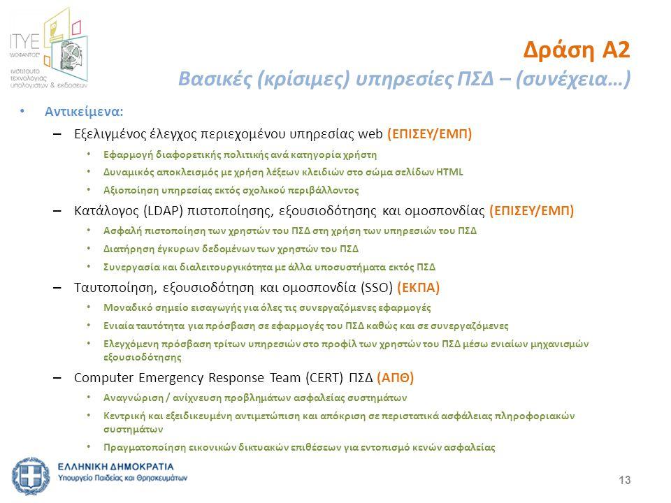 Δράση Α2 Βασικές (κρίσιμες) υπηρεσίες ΠΣΔ – (συνέχεια…) Αντικείμενα: – Εξελιγμένος έλεγχος περιεχομένου υπηρεσίας web (ΕΠΙΣΕΥ/ΕΜΠ) Εφαρμογή διαφορετικ