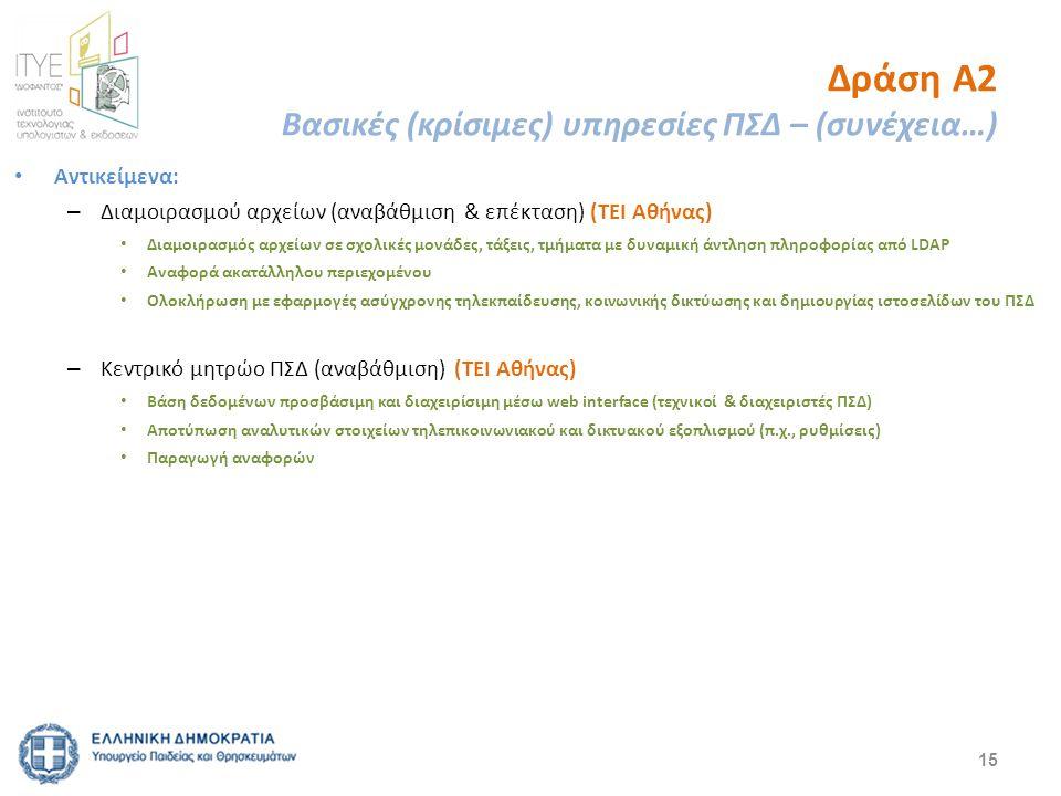Δράση Α2 Βασικές (κρίσιμες) υπηρεσίες ΠΣΔ – (συνέχεια…) Αντικείμενα: – Διαμοιρασμού αρχείων (αναβάθμιση & επέκταση) (ΤΕΙ Αθήνας) Διαμοιρασμός αρχείων σε σχολικές μονάδες, τάξεις, τμήματα με δυναμική άντληση πληροφορίας από LDAP Αναφορά ακατάλληλου περιεχομένου Ολοκλήρωση με εφαρμογές ασύγχρονης τηλεκπαίδευσης, κοινωνικής δικτύωσης και δημιουργίας ιστοσελίδων του ΠΣΔ – Κεντρικό μητρώο ΠΣΔ (αναβάθμιση) (ΤΕΙ Αθήνας) Βάση δεδομένων προσβάσιμη και διαχειρίσιμη μέσω web interface (τεχνικοί & διαχειριστές ΠΣΔ) Αποτύπωση αναλυτικών στοιχείων τηλεπικοινωνιακού και δικτυακού εξοπλισμού (π.χ., ρυθμίσεις) Παραγωγή αναφορών 15