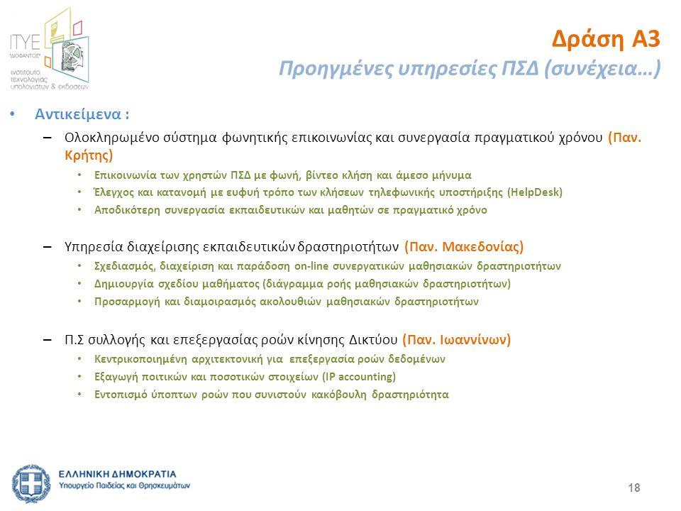 Δράση Α3 Προηγμένες υπηρεσίες ΠΣΔ (συνέχεια…) Αντικείμενα : – Ολοκληρωμένο σύστημα φωνητικής επικοινωνίας και συνεργασία πραγματικού χρόνου (Παν. Κρήτ