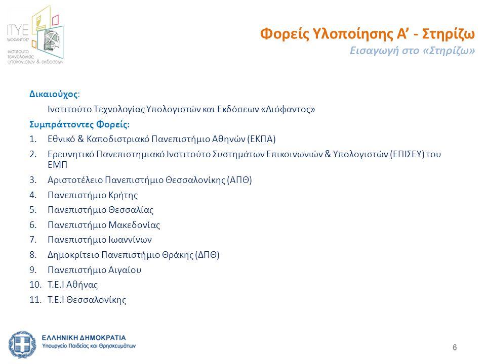 6 Δικαιούχος: Ινστιτούτο Τεχνολογίας Υπολογιστών και Εκδόσεων «Διόφαντος» Συμπράττοντες Φορείς: 1.Εθνικό & Καποδιστριακό Πανεπιστήμιο Αθηνών (ΕΚΠΑ) 2.Ερευνητικό Πανεπιστημιακό Ινστιτούτο Συστημάτων Επικοινωνιών & Υπολογιστών (ΕΠΙΣΕΥ) του ΕΜΠ 3.Αριστοτέλειο Πανεπιστήμιο Θεσσαλονίκης (ΑΠΘ) 4.Πανεπιστήμιο Κρήτης 5.Πανεπιστήμιο Θεσσαλίας 6.Πανεπιστήμιο Μακεδονίας 7.Πανεπιστήμιο Ιωαννίνων 8.Δημοκρίτειο Πανεπιστήμιο Θράκης (ΔΠΘ) 9.Πανεπιστήμιο Αιγαίου 10.Τ.Ε.Ι Αθήνας 11.Τ.Ε.Ι Θεσσαλονίκης Φορείς Υλοποίησης Α' - Στηρίζω Εισαγωγή στο «Στηρίζω»