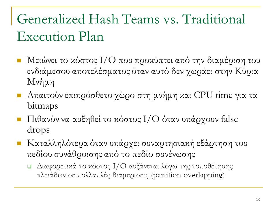 16 Generalized Hash Teams vs.