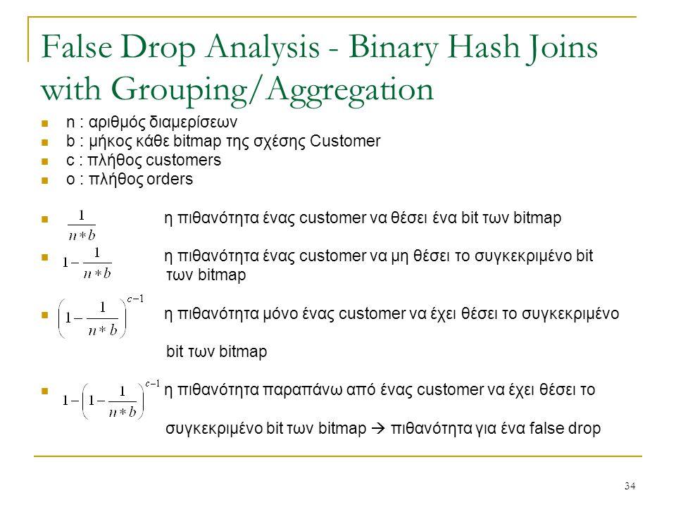 34 False Drop Analysis - Binary Hash Joins with Grouping/Aggregation n : αριθμός διαμερίσεων b : μήκος κάθε bitmap της σχέσης Customer c : πλήθος customers o : πλήθος orders η πιθανότητα ένας customer να θέσει ένα bit των bitmap η πιθανότητα ένας customer να μη θέσει το συγκεκριμένο bit των bitmap η πιθανότητα μόνο ένας customer να έχει θέσει το συγκεκριμένο bit των bitmap η πιθανότητα παραπάνω από ένας customer να έχει θέσει το συγκεκριμένο bit των bitmap  πιθανότητα για ένα false drop