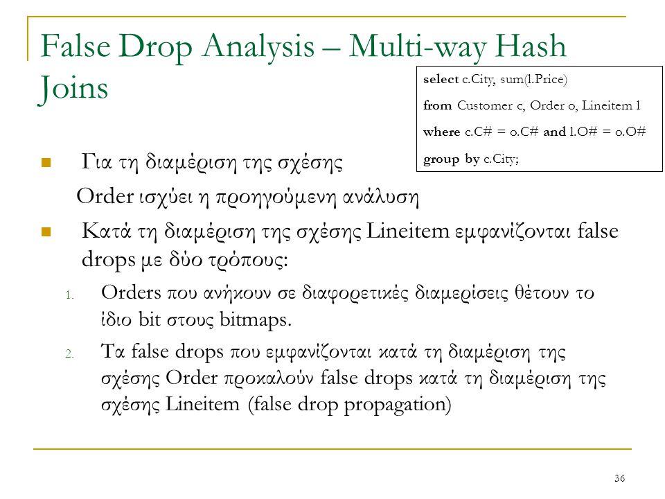 36 False Drop Analysis – Multi-way Hash Joins Για τη διαμέριση της σχέσης Order ισχύει η προηγούμενη ανάλυση Κατά τη διαμέριση της σχέσης Lineitem εμφανίζονται false drops με δύο τρόπους: 1.