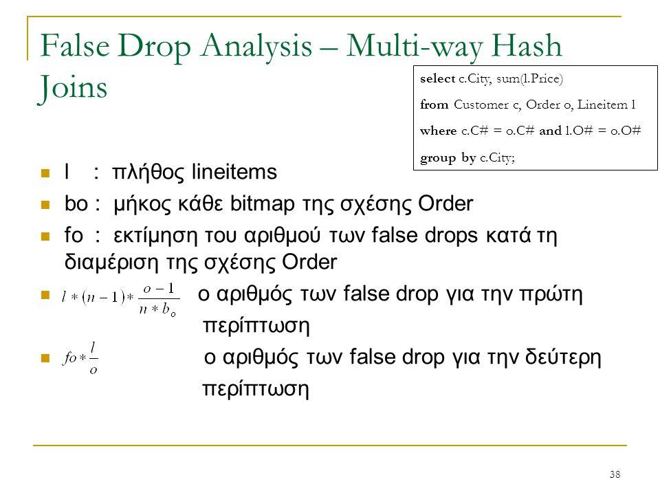 38 False Drop Analysis – Multi-way Hash Joins l : πλήθος lineitems bο : μήκος κάθε bitmap της σχέσης Order fο : εκτίμηση του αριθμού των false drops κατά τη διαμέριση της σχέσης Order ο αριθμός των false drop για την πρώτη περίπτωση ο αριθμός των false drop για την δεύτερη περίπτωση select c.City, sum(l.Price) from Customer c, Order o, Lineitem l where c.C# = o.C# and l.O# = o.O# group by c.City;