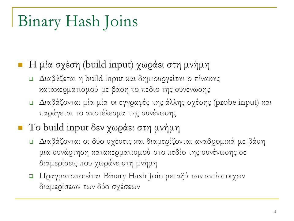 4 Binary Hash Joins Η μία σχέση (build input) χωράει στη μνήμη  Διαβάζεται η build input και δημιουργείται ο πίνακας κατακερματισμού με βάση το πεδίο της συνένωσης  Διαβάζονται μία-μία οι εγγραφές της άλλης σχέσης (probe input) και παράγεται το αποτέλεσμα της συνένωσης Το build input δεν χωράει στη μνήμη  Διαβάζονται οι δύο σχέσεις και διαμερίζονται αναδρομικά με βάση μια συνάρτηση κατακερματισμού στο πεδίο της συνένωσης σε διαμερίσεις που χωράνε στη μνήμη  Πραγματοποιείται Binary Hash Join μεταξύ των αντίστοιχων διαμερίσεων των δύο σχέσεων