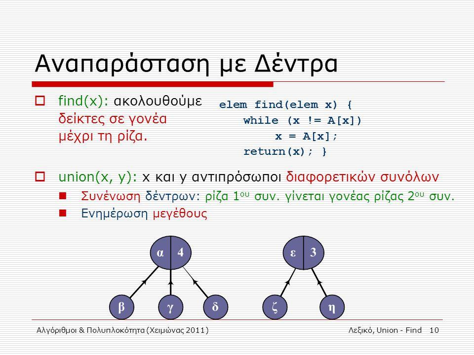 Αλγόριθμοι & Πολυπλοκότητα (Χειμώνας 2011)Λεξικό, Union - Find 10 Αναπαράσταση με Δέντρα  find(x): ακολουθούμε δείκτες σε γονέα μέχρι τη ρίζα.