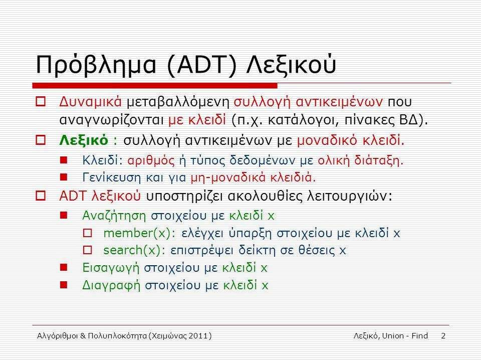 Αλγόριθμοι & Πολυπλοκότητα (Χειμώνας 2011)Λεξικό, Union - Find 2 Πρόβλημα (ADT) Λεξικού  Δυναμικά μεταβαλλόμενη συλλογή αντικειμένων που αναγνωρίζονται με κλειδί (π.χ.