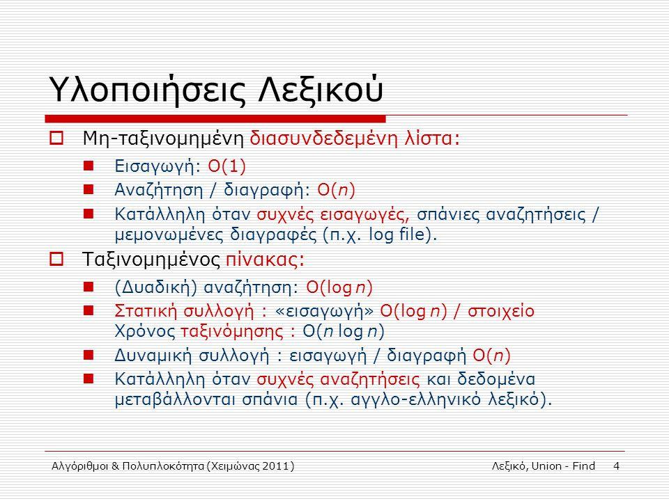 Αλγόριθμοι & Πολυπλοκότητα (Χειμώνας 2011)Λεξικό, Union - Find 4 Υλοποιήσεις Λεξικού  Μη-ταξινομημένη διασυνδεδεμένη λίστα: Εισαγωγή: Ο(1) Αναζήτηση / διαγραφή: Ο(n) Κατάλληλη όταν συχνές εισαγωγές, σπάνιες αναζητήσεις / μεμονωμένες διαγραφές (π.χ.