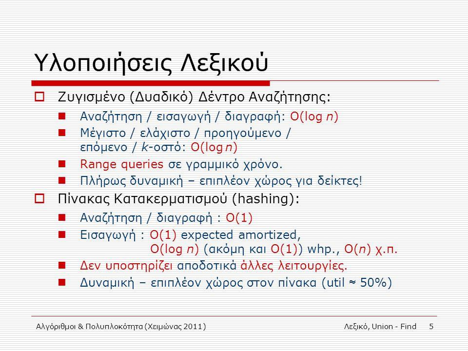 Αλγόριθμοι & Πολυπλοκότητα (Χειμώνας 2011)Λεξικό, Union - Find 5 Υλοποιήσεις Λεξικού  Ζυγισμένο (Δυαδικό) Δέντρο Αναζήτησης: Αναζήτηση / εισαγωγή / διαγραφή: Ο(log n) Μέγιστο / ελάχιστο / προηγούμενο / επόμενο / k-οστό: Ο(log n) Range queries σε γραμμικό χρόνο.