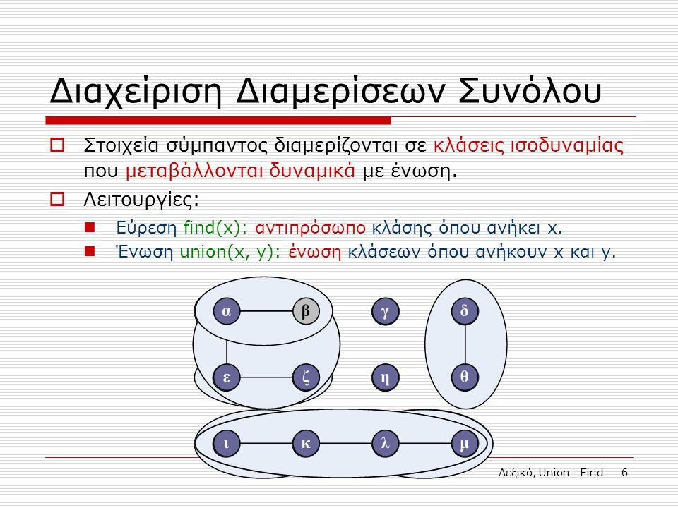 Λεξικό, Union - Find 6 Διαχείριση Διαμερίσεων Συνόλου  Στοιχεία σύμπαντος διαμερίζονται σε κλάσεις ισοδυναμίας που μεταβάλλονται δυναμικά με ένωση.