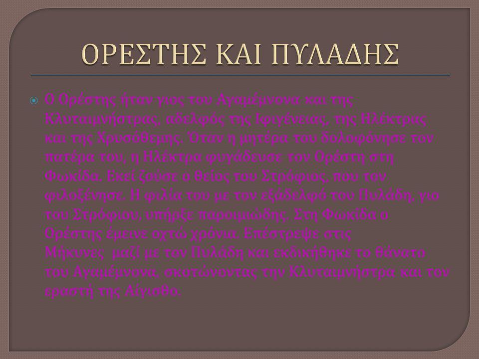  Ο Ορέστης ήταν γιος του Αγαμέμνονα και της Κλυταιμνήστρας, αδελφός της Ιφιγένειας, της Ηλέκτρας και της Χρυσόθεμης. Όταν η μητέρα του δολοφόνησε τον