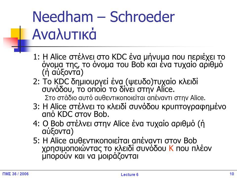 10ΠΜΣ 36 / 2006 Lecture 6 Needham – Schroeder Αναλυτικά 1: Η Alice στέλνει στο KDC ένα μήνυμα που περιέχει το όνομα της, το όνομα του Βob και ένα τυχαίο αριθμό (ή αύξοντα) 2: Το KDC δημιουργεί ένα (ψευδο)τυχαίο κλειδί συνόδου, το οποίο το δίνει στην Alice.