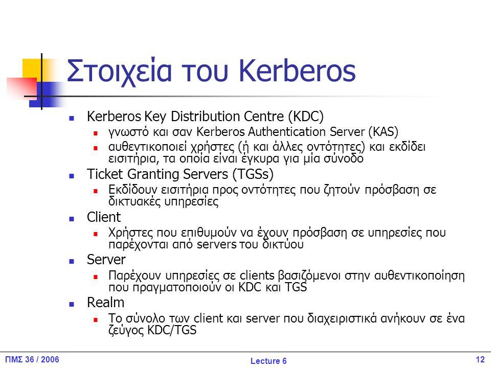 12ΠΜΣ 36 / 2006 Lecture 6 Στοιχεία του Kerberos Kerberos Key Distribution Centre (KDC) γνωστό και σαν Kerberos Authentication Server (KAS) αυθεντικοποιεί χρήστες (ή και άλλες οντότητες) και εκδίδει εισιτήρια, τα οποία είναι έγκυρα για μία σύνοδο Ticket Granting Servers (TGSs) Εκδίδουν εισιτήρια προς οντότητες που ζητούν πρόσβαση σε δικτυακές υπηρεσίες Client Χρήστες που επιθυμούν να έχουν πρόσβαση σε υπηρεσίες που παρέχονται από servers του δικτύου Server Παρέχουν υπηρεσίες σε clients βασιζόμενοι στην αυθεντικοποίηση που πραγματοποιούν οι KDC και TGS Realm To σύνολο των client και server που διαχειριστικά ανήκουν σε ένα ζεύγος KDC/TGS