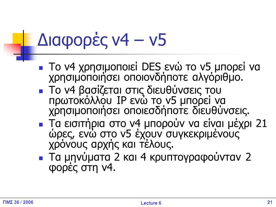21ΠΜΣ 36 / 2006 Lecture 6 Διαφορές v4 – v5 To v4 χρησιμοποιεί DES ενώ το v5 μπορεί να χρησιμοποιήσει οποιονδήποτε αλγόριθμο.
