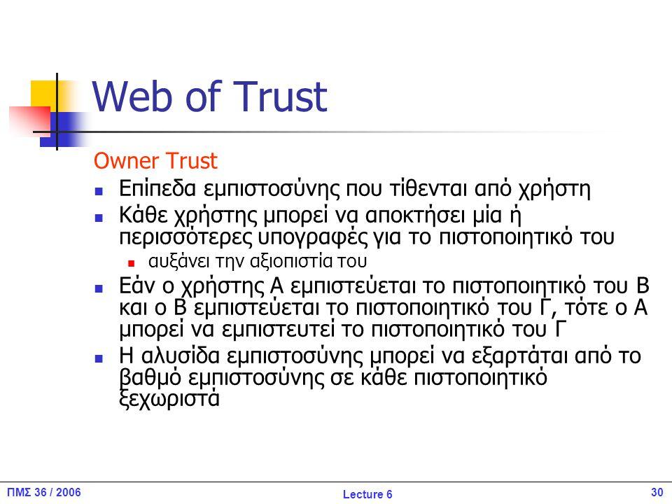 30ΠΜΣ 36 / 2006 Lecture 6 Web of Trust Owner Trust Επίπεδα εμπιστοσύνης που τίθενται από χρήστη Κάθε χρήστης μπορεί να αποκτήσει μία ή περισσότερες υπογραφές για το πιστοποιητικό του αυξάνει την αξιοπιστία του Εάν ο χρήστης Α εμπιστεύεται το πιστοποιητικό του Β και ο Β εμπιστεύεται το πιστοποιητικό του Γ, τότε ο Α μπορεί να εμπιστευτεί το πιστοποιητικό του Γ Η αλυσίδα εμπιστοσύνης μπορεί να εξαρτάται από το βαθμό εμπιστοσύνης σε κάθε πιστοποιητικό ξεχωριστά