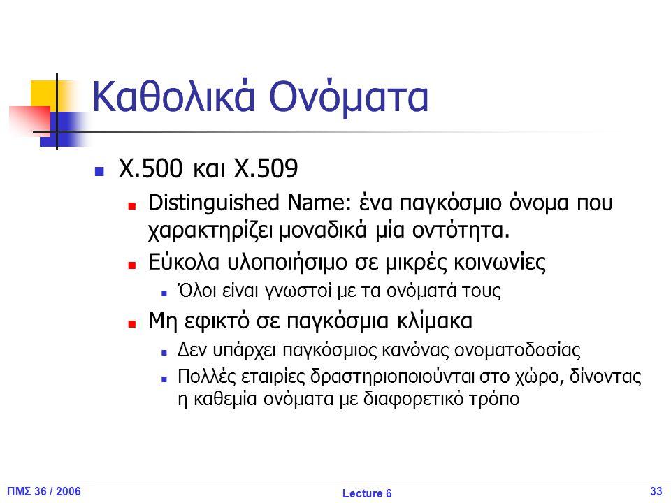 33ΠΜΣ 36 / 2006 Lecture 6 Καθολικά Ονόματα Χ.500 και X.509 Distinguished Name: ένα παγκόσμιο όνομα που χαρακτηρίζει μοναδικά μία οντότητα.