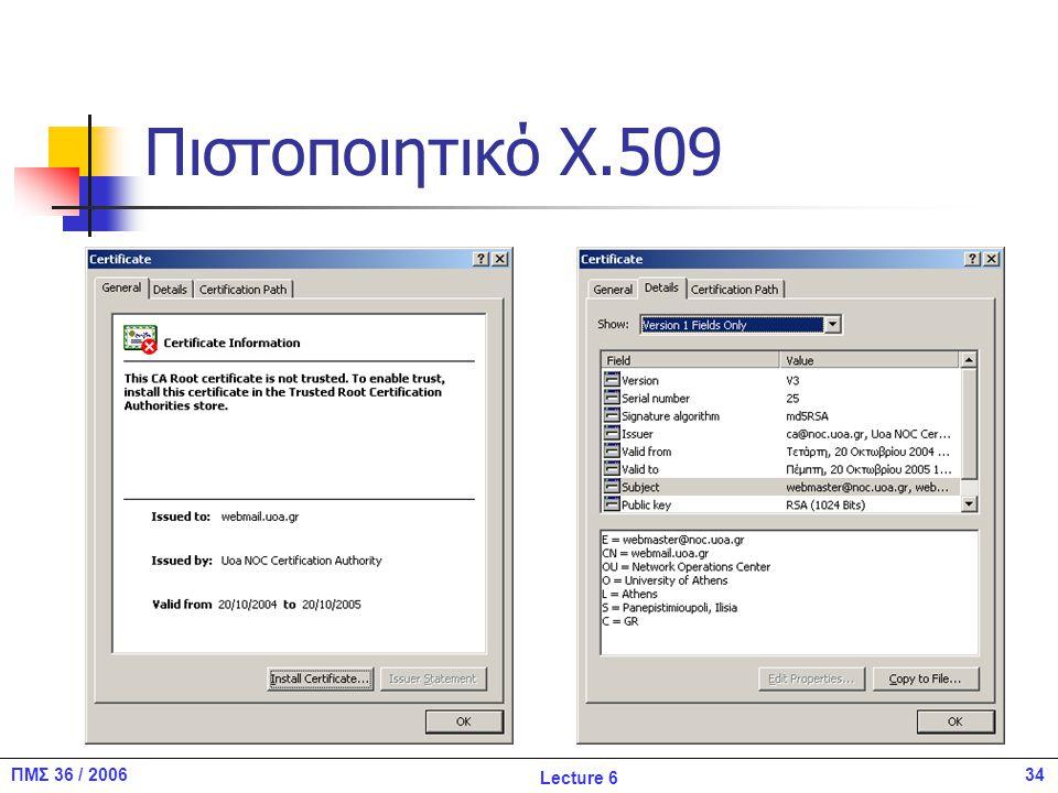 34ΠΜΣ 36 / 2006 Lecture 6 Πιστοποιητικό X.509