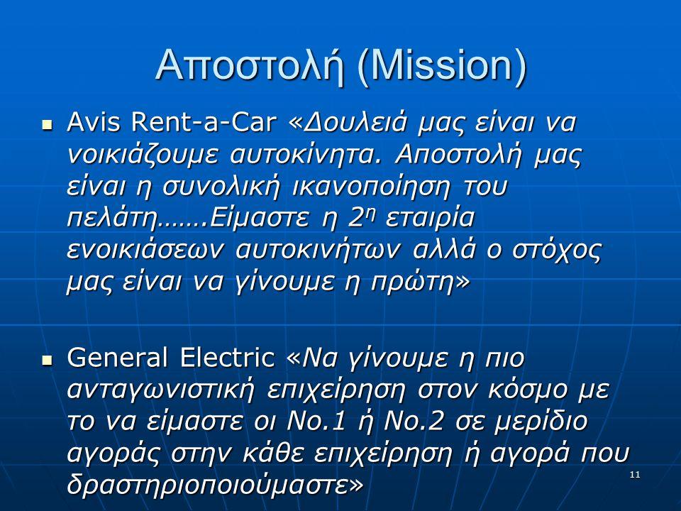 Αποστολή (Mission) Avis Rent-a-Car «Δουλειά μας είναι να νοικιάζουμε αυτοκίνητα.