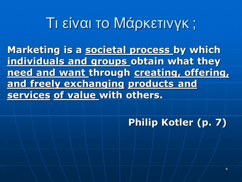 Τι είναι το Μάρκετινγκ ; Marketing is a societal process by which individuals and groups obtain what they need and want through creating, offering, and freely exchanging products and services of value with others.
