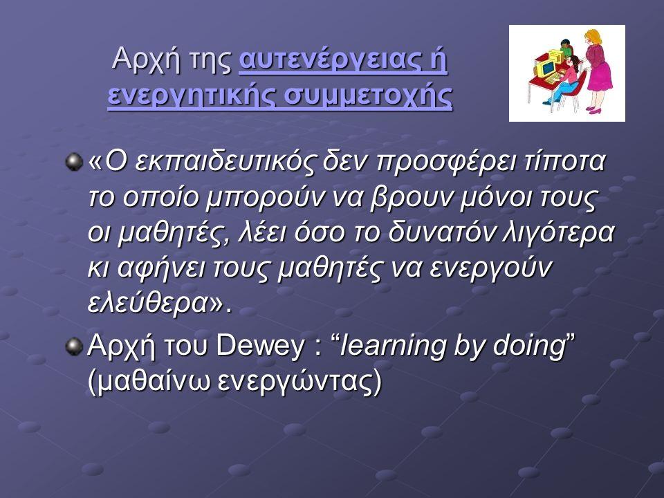 Αρχή της εξατομικευμένης διδασκαλίας εξατομικευμένης διδασκαλίαςεξατομικευμένης διδασκαλίαςΜορφές: «δυαδική αλληλεπίδραση» «δυαδική αλληλεπίδραση» Μικρές ομάδες (2-8 μαθητών) Μικρές ομάδες (2-8 μαθητών) Μεγάλες ομάδες (άνω των 15 μαθητών) Μεγάλες ομάδες (άνω των 15 μαθητών) Με τη διδασκαλία σε μικρές ομάδες (2-3 μαθητών) το ΜΘ: Προσαρμόζεται στα ιδιαίτερα χαρακτηριστικά του κάθε μαθητή Προσαρμόζεται στα ιδιαίτερα χαρακτηριστικά του κάθε μαθητή Επιτυγχάνεται η εξατομίκευση της διδασκαλίας Επιτυγχάνεται η εξατομίκευση της διδασκαλίας Τονίζεται ο συνεργατικός χαρακτήρας της μάθησης Τονίζεται ο συνεργατικός χαρακτήρας της μάθησης Τονίζονται οι διαπροσωπικές σχέσεις μεταξύ των μαθητών και εκπαιδευτικού-μαθητών Τονίζονται οι διαπροσωπικές σχέσεις μεταξύ των μαθητών και εκπαιδευτικού-μαθητών Τονίζεται ο διαλογικός χαρακτήρας του μαθήματος Τονίζεται ο διαλογικός χαρακτήρας του μαθήματος