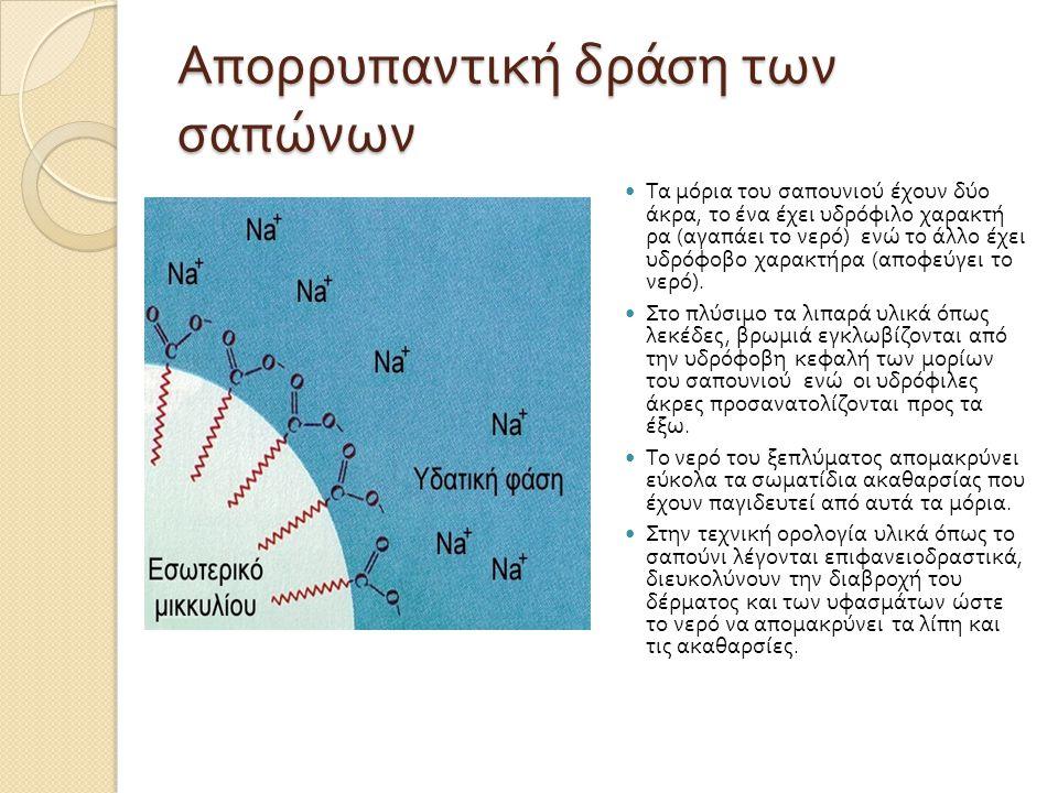 Απορρυπαντική δράση των σαπώνων Τα μόρια του σαπουνιού έχουν δύο άκρα, το ένα έχει υδρόφιλο χαρακτή ρα ( αγαπάει το νερό ) ενώ το άλλο έχει υδρόφοβο χ