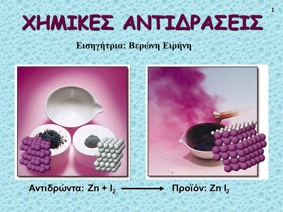 1 ΧΗΜΙΚΕΣ ΑΝΤΙΔΡΑΣΕΙΣ Αντιδρώντα: Zn + I 2 Προϊόν: Zn I 2 Εισηγήτρια: Βερώνη Ειρήνη