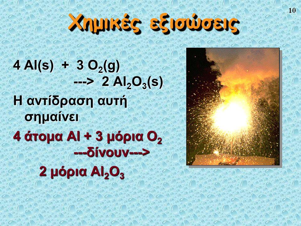 10 Χημικές εξισώσεις 4 Al(s) + 3 O 2 (g) ---> 2 Al 2 O 3 (s) Η αντίδραση αυτή σημαίνει 4 άτομα Al + 3 μόρια O 2 ---δίνουν---> 2 μόρια Al 2 O 3 2 μόρια Al 2 O 3