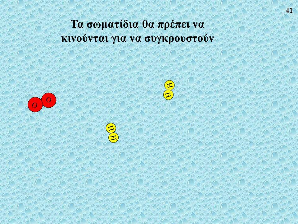 41 O O HH H H Τα σωματίδια θα πρέπει να κινούνται για να συγκρουστούν