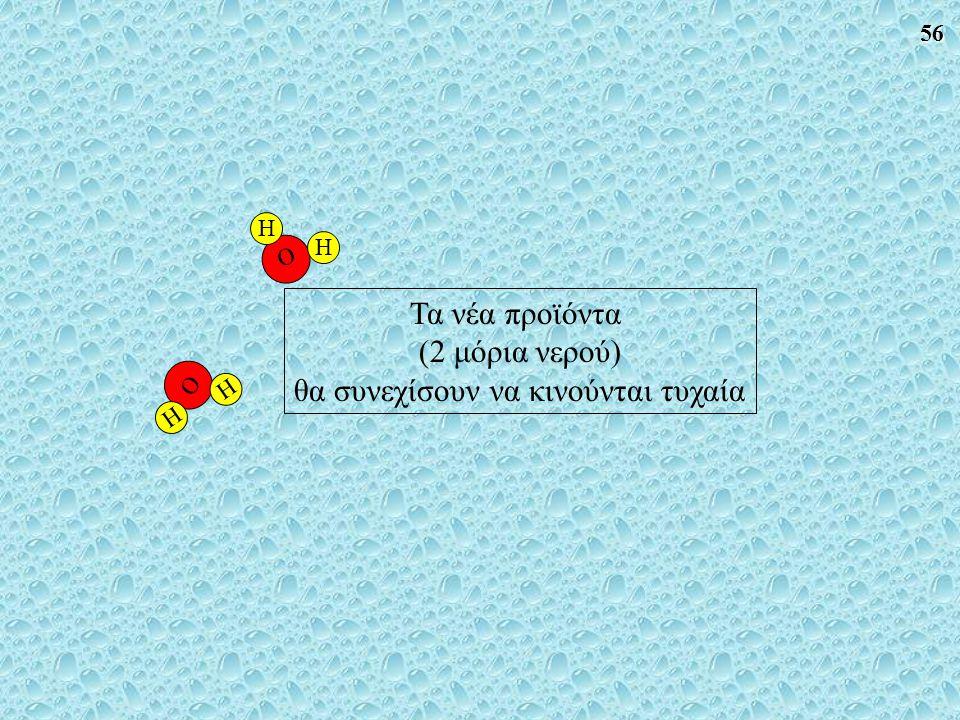 56 O H H O H H Τα νέα προϊόντα (2 μόρια νερού) θα συνεχίσουν να κινούνται τυχαία