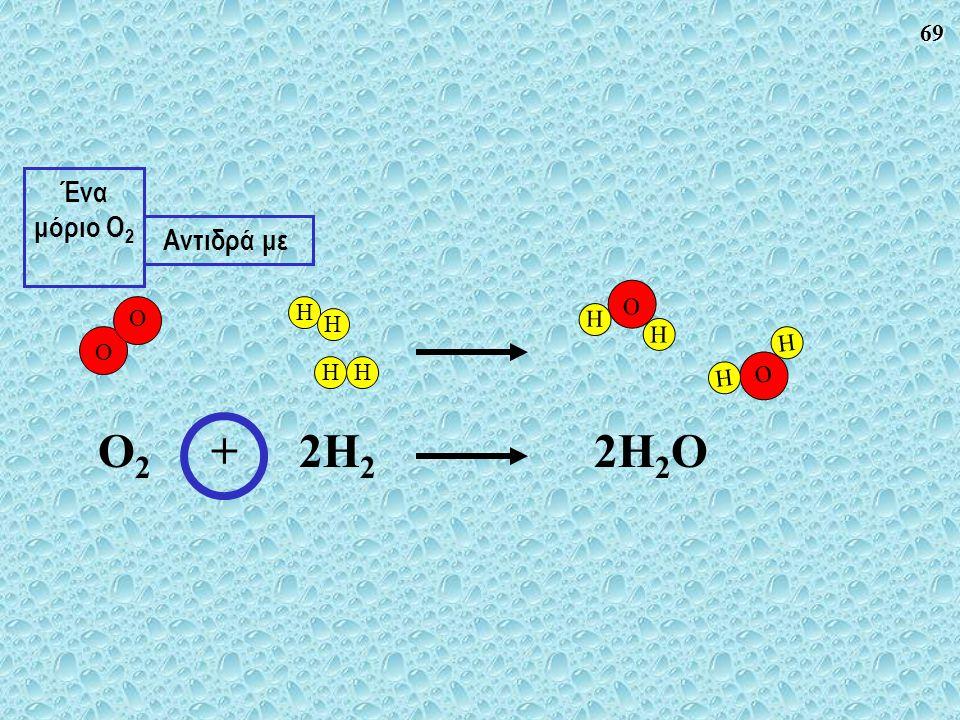 69 O H H O H H O O HH H H O 2 + 2H 2 2H 2 O Αντιδρά με Ένα μόριο O 2
