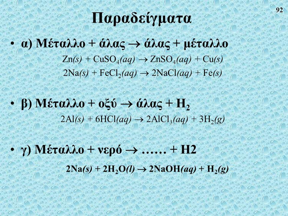 92 Παραδείγματα α) Μέταλλο + άλας  άλας + μέταλλο Zn(s) + CuSO 4 (aq)  ZnSO 4 (aq) + Cu(s) 2Na(s) + FeCl 2 (aq)  2NaCl(aq) + Fe(s) β) Μέταλλο + οξύ  άλας + Η 2 2Al(s) + 6HCl(aq)  2AlCl 3 (aq) + 3H 2 (g) γ) Μέταλλο + νερό  …… + Η2 2Na(s) + 2H 2 O(l)  2NaOH(aq) + H 2 (g)