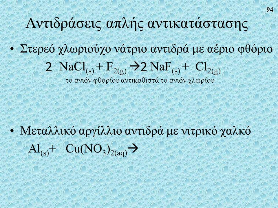 94 Στερεό χλωριούχο νάτριο αντιδρά με αέριο φθόριο NaCl (s) + F 2(g)  NaF (s) + Cl 2(g) το ανιόν φθορίου αντικαθιστά το ανιόν χλωρίου Μεταλλικό αργίλλιο αντιδρά με νιτρικό χαλκό Al (s) + Cu(NO 3 ) 2(aq)  22 Αντιδράσεις απλής αντικατάστασης