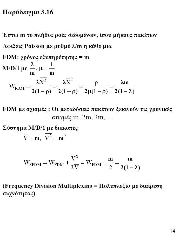 14 Παράδειγμα 3.16 Έστω m το πλήθος ροές δεδομένων, ίσου μήκους πακέτων Αφίξεις Poisson με ρυθμό λ/m η κάθε μια FDM: χρόνος εξυπηρέτησης = m M/D/1 με