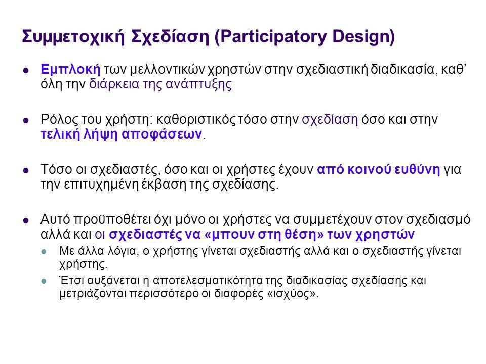 Συμμετοχική Σχεδίαση (Participatory Design) Εμπλοκή των μελλοντικών χρηστών στην σχεδιαστική διαδικασία, καθ' όλη την διάρκεια της ανάπτυξης Ρόλος του χρήστη: καθοριστικός τόσο στην σχεδίαση όσο και στην τελική λήψη αποφάσεων.